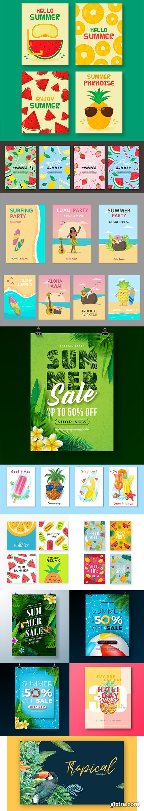 Collection of summer, travel and holidays poster and card