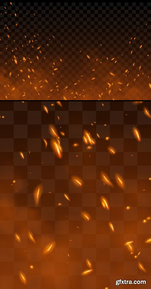 Flying Up Sparks and Fire Particles with Smoke - Vector Template
