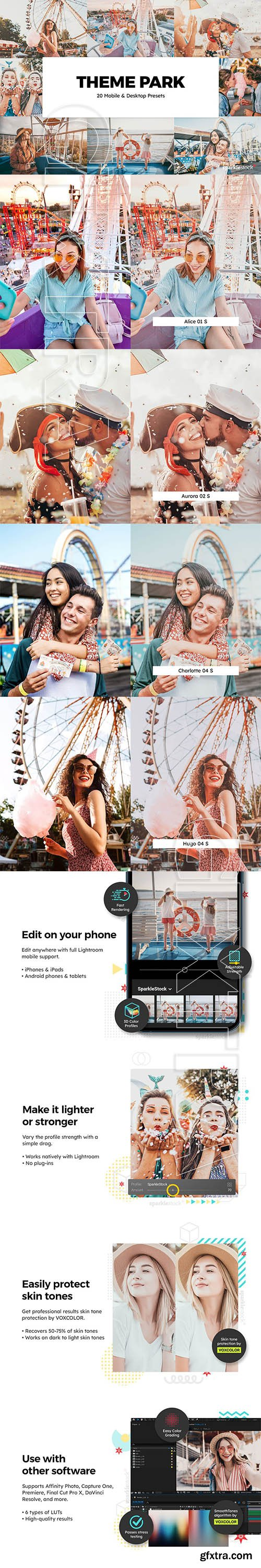 CreativeMarket - 20 Theme Park Lightroom Presets & LUTs 6086209