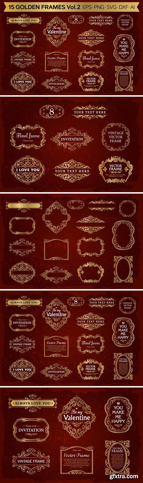 Golden frames backgrounds set #2, 15 elements