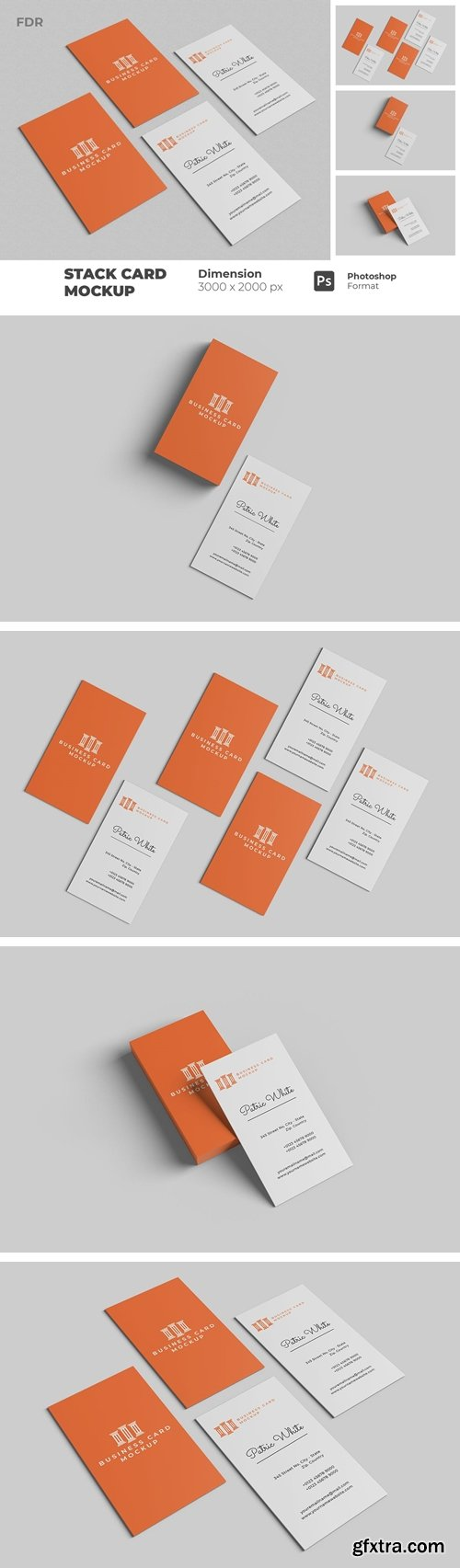 Stack Vertical Business Card Mockupa