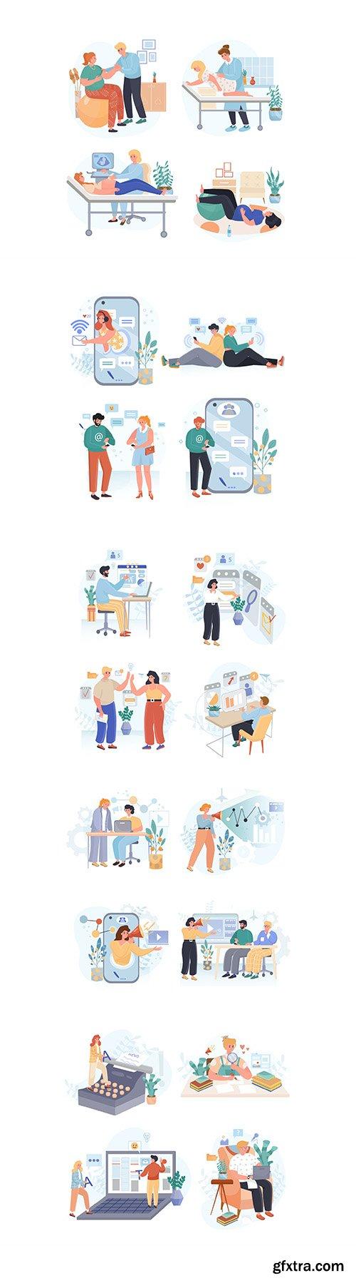 People activity illustrations set Vol2