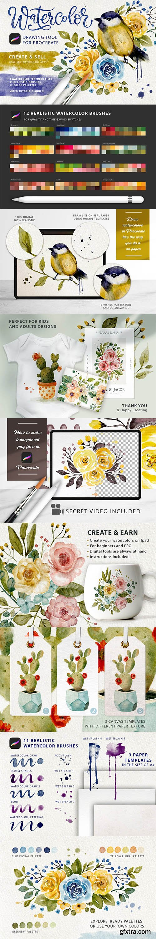 CreativeMarket - Watercolor Tool Kit for Procreate 5949386
