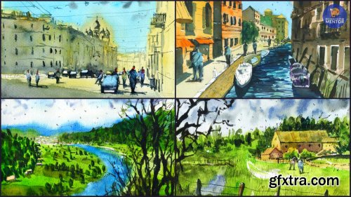 Simplify Your Painting: Sketch and Paint 5 Complex Watercolor Landscapes