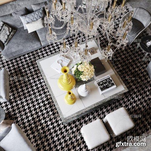 Postmodern light luxury living room 3d model