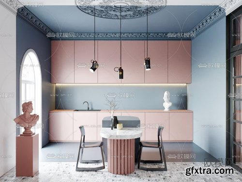 Neoclassical kitchen 3d model