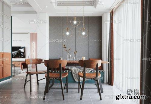 Modern minimalist living room dining room 3d model 751201