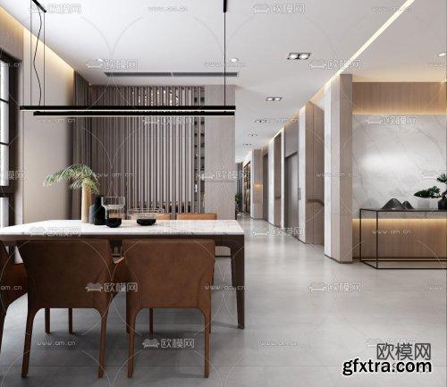 Modern villa living room dining room 3d model 848459
