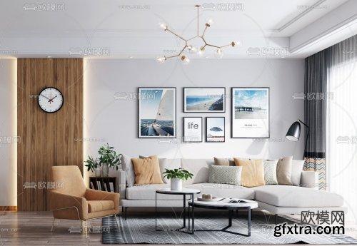 Nordic living room dining room 3d model 856385