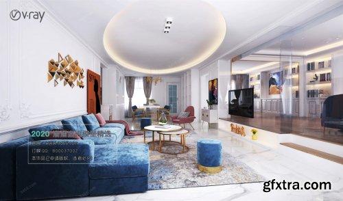 Modern style Livingroom Vray 36
