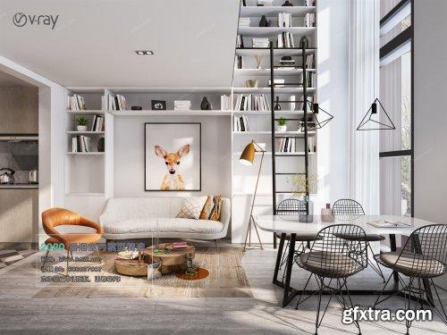 Modern style Livingroom Vray 39