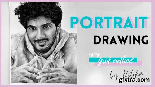Drawing a Realistic Portrait - Grid Method || Portrait drawing for beginners
