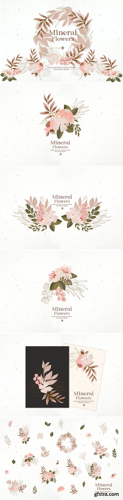 Mineral Flowers - hand painted floral clipart