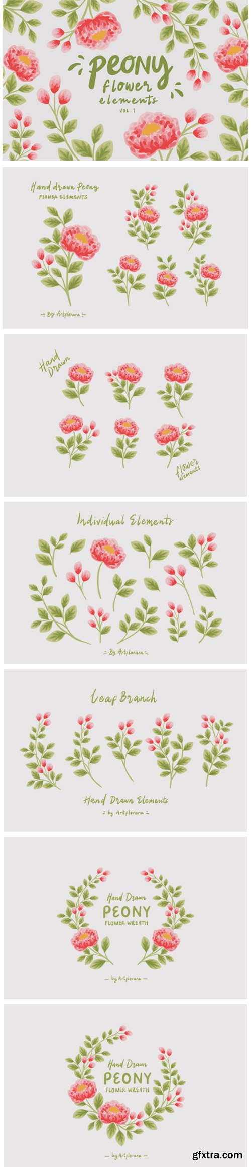 Natural Peony Flower Clipart Element Set 11615658