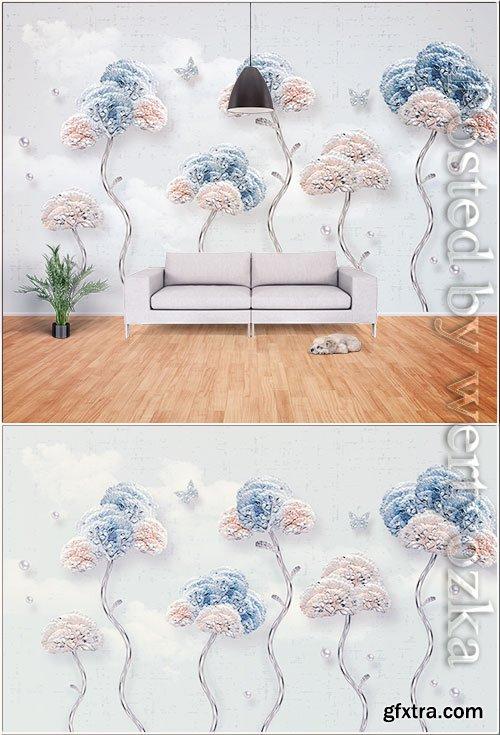 Modern minimalist fashion embossed flower, butterfly, jewelry background wall