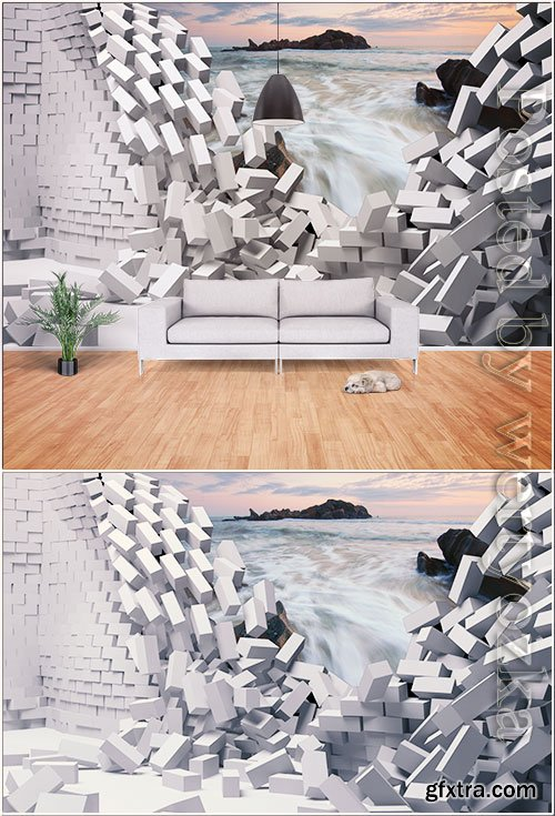 Modern minimalist 3d hole wall landscape decoration effect wall