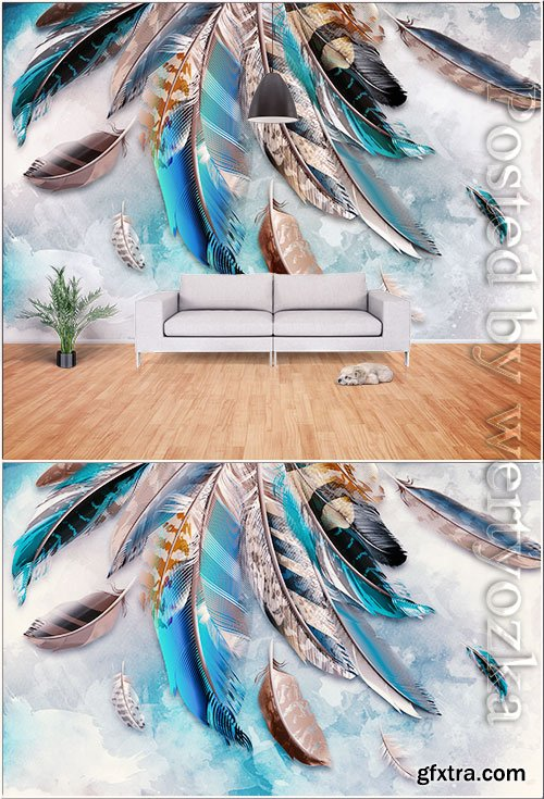 Fresh modern minimalist watercolor feather hand painted tv background wall