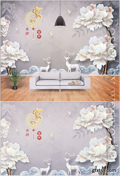 Fashion jade carving peony flower elk leaf home and rich background wall