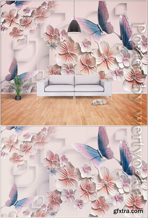 3d butterfly and flower tv background wall