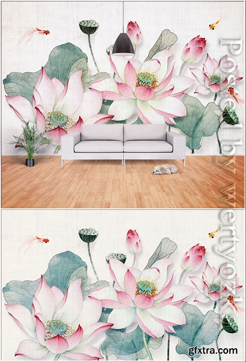 New chinese 3d lotus flower blooming background wall