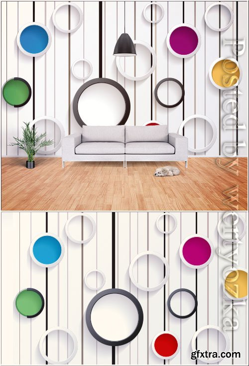 Modern minimalistic 3d geometric graphic tv background wall