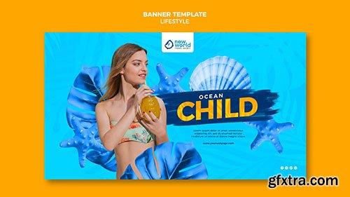 Psd banner template for summer beach vacation
