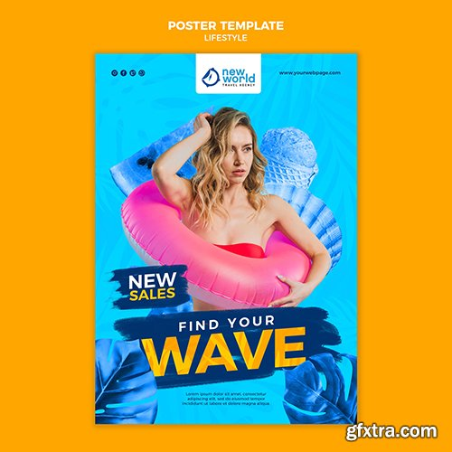 Vertical psd poster template for summer beach vacation