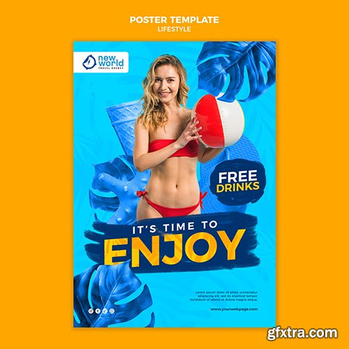 Vertical psd poster template for summer beach vacation vov 2