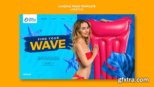 Landing psd page template for summer beach vacation