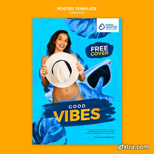 Poster psd template for summer beach vacation