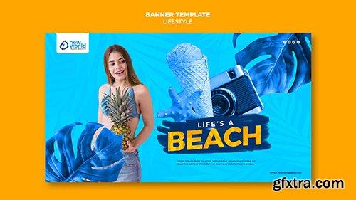 Horizontal psdbanner template for summer beach vacation