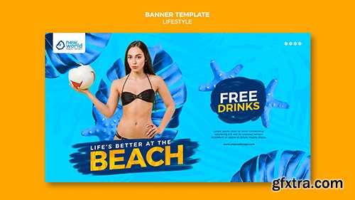 Horizontal psd banner for summer beach vacation