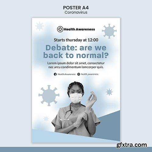 Vertical psd poster for coronavirus pandemic
