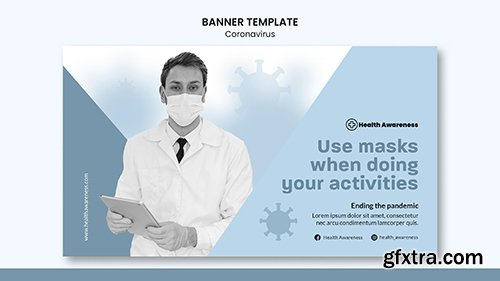 Horizontal psd banner for coronavirus pandemic