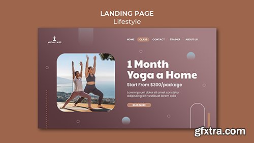 Psd landing page template for yoga practice and exercise