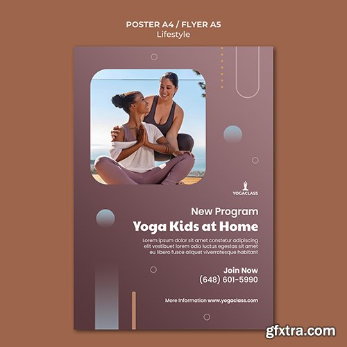 Psd poster template for yoga practice and exercise
