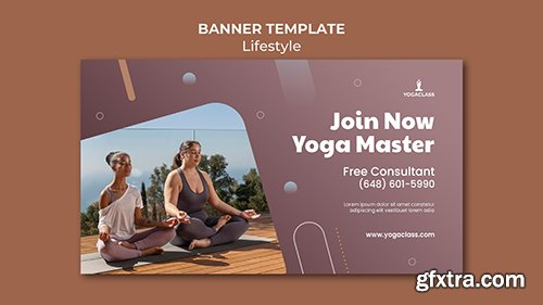 Psd horizontal banner for yoga practice and exercise