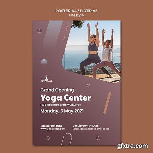Poster psd template for yoga practice and exercise