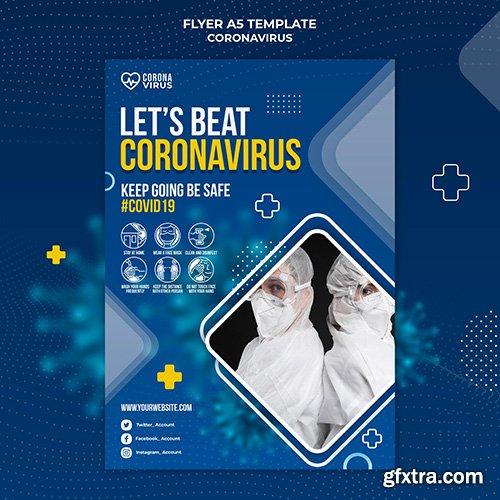 Psd vertical flyer template for coronavirus awareness
