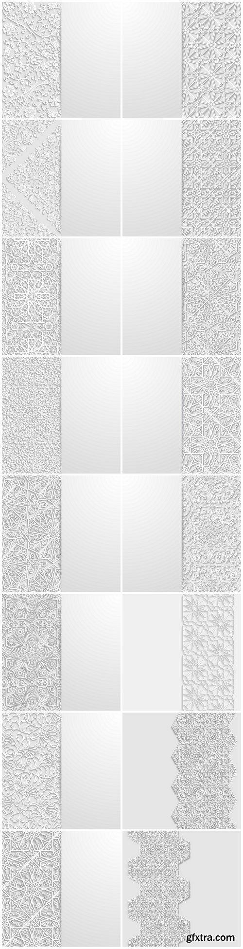 Beautiful arab and islamic white ornaments - 16xEPS