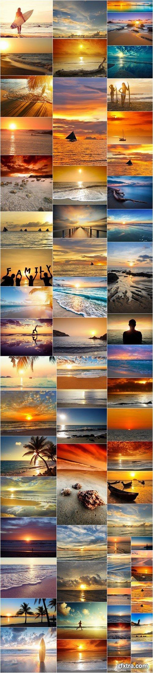 Beautiful Sunset and Sunrise at Beach - Set of 66xUHQ JPEG Professional Stock Images