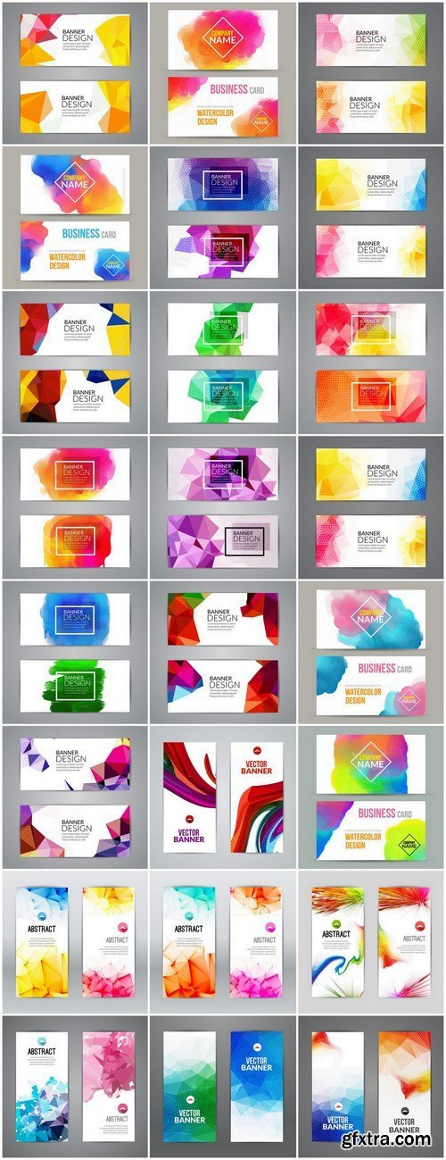 Abstract & Polygonal Triangular Colorful Design Cards - 24xEPS Professional Vector Stock