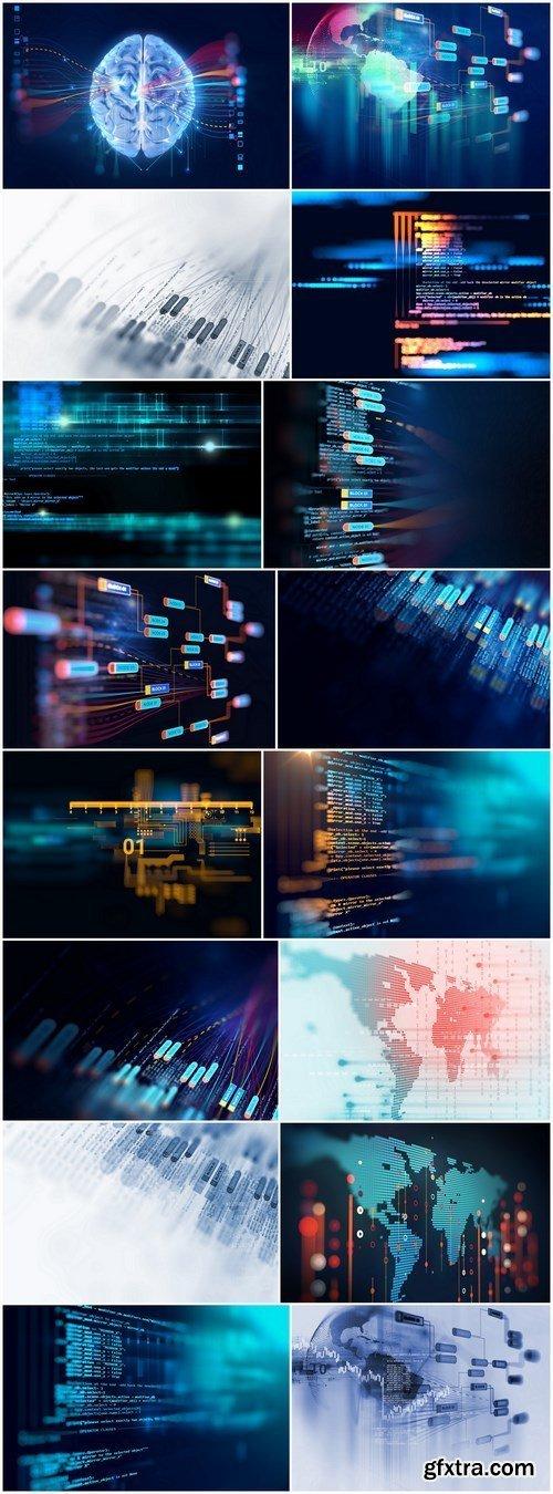 Big data futuristic visualization abstract illustration - Set of 16xUHQ JPEG Professional Stock Images