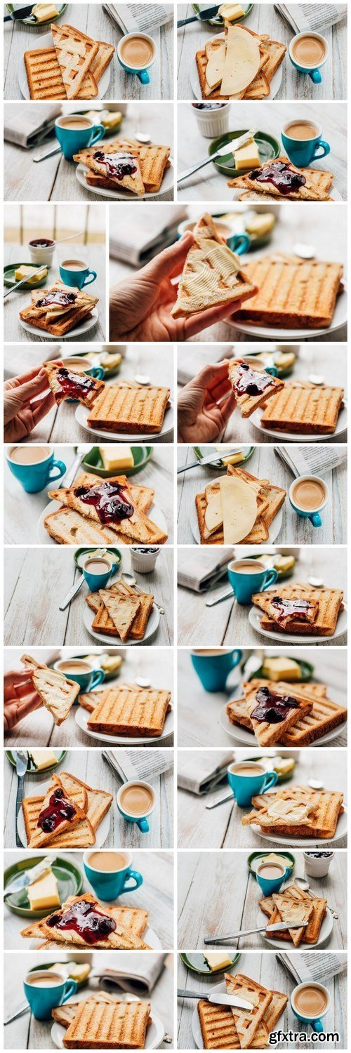 Breakfast with coffee, toasts, butter and jam - 20xUHQ JPEG