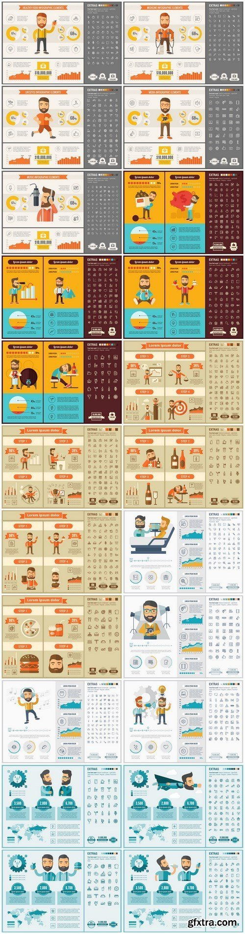 Flat Design Infographic Template - 24xEPS