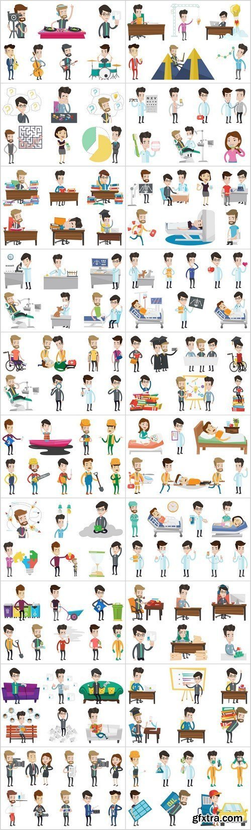 Business characters and life of people - Set of 20xEPS Professional Vector Stock