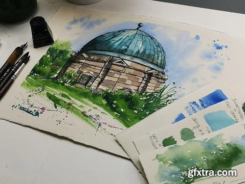 Urban Sketching from a Photograph: Paint the Stunning City Dome in line and wash