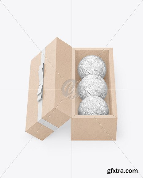 Kraft Paper Box with Chocolates in Foil Mockup 82540