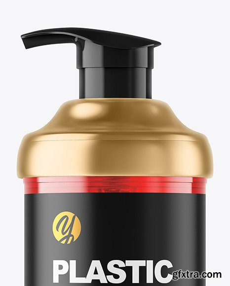 Color Plastic Cosmetic Bottle with Pump Mockup 82501
