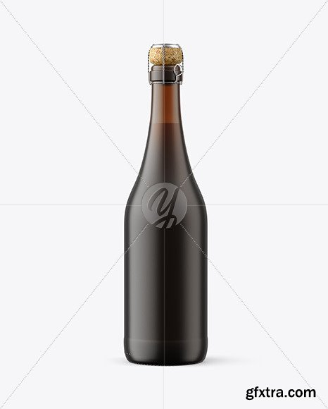 Frosted Amber Glass Bottle w/ Red Wine mockup 82566